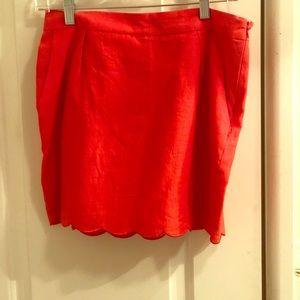 Orange scalloped skirt